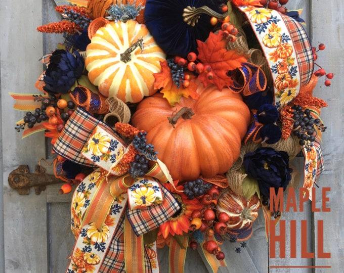 Featured listing image: Fall wreath, Autumn wreath, deco mesh, navy blue velvet pumpkin, orange, plaid ribbon, greenery, blueberries, sunflowers, peonies, berries