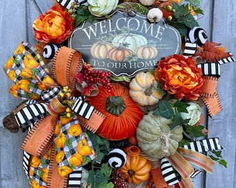 Fall Wreath, Autumn Wreath, Front Door Fall Wreath, Welcome to Our Home Wreath, Home Decor, Pumpkins, Orange, Black and White