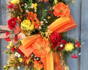 Spring Wreath, Summer Wreath, Moss Wreath, Wildflowers Wreath, Door Decor, Yellow Red Orange Wreath, Front Door Wreath