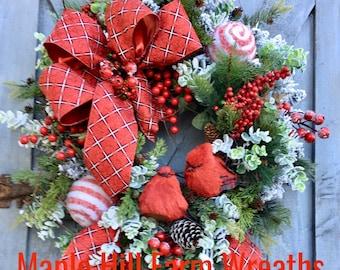 Christmas Wreath, Cardinal Wreath, Winter Wreath, Red Bird Wreath, Flocked Wreath, Holidays Wreath, Whimsical Christmas Wreath, Birch Wreath