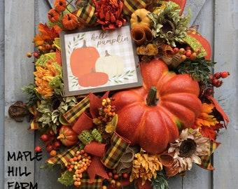 Fall Wreath, Autumn Wreath,  Deco Mesh, Hello Pumpkin Sign, Orange, Green Yellow, Oval, Large Pumpkin, Door Decor, Sunflowers, Plaid Ribbon