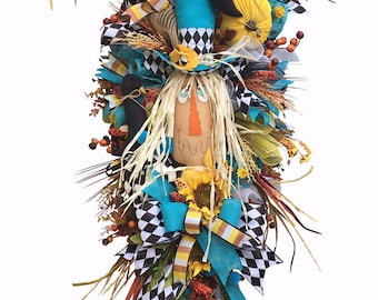 Scarecrow Face Swag, Scarecrow Wreath, Fall Wreath, Autumn Swag, Felt Crow, Corn, Straw, Mr. Scarecrow Swag, Velvet Pumpkin, Fall Door Decor