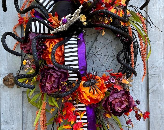 Featured listing image: Black Spider Halloween Wreath, Glitzy, Glam, Glitter, Sparkly, Purple Metallic Ribbon, Home Decor, Unique Halloween, Queen Spider