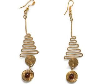 Spiral earrings long, wanderlust jewelry, boho earrings dangle, aluminum earrings, coiled earrings, handmade dangle earrings, bohemian