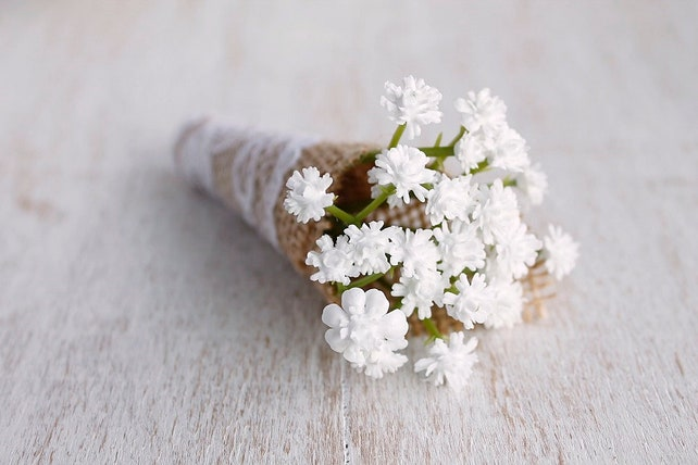 Babys breath boutonniere white flower corsage natural etsy image 0 mightylinksfo