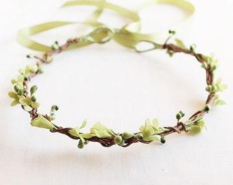 Green Floral Crown, Rustic Head Wreath, Woodland Crown, Boho Halo, Bridal Crown, Flower Girl Crown, Green Hair Garland, Flower Girl Wreath
