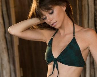 Stylish Olive Green Bikini, Tie Dye Triangle Bikini, Two Piece Hippie Swimsuit, Boho Bikini, Cheeky Seamless Swimwear, Tribal Bathing Suit