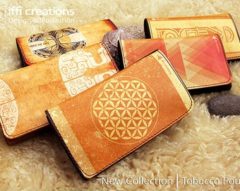 Designed Tobacco Pouch, Bohemian Tobacco Case, Pouch For Tobacco, Flower Of Life Rolling Tobacco Pouch, Smoking Accessories, iffi creations