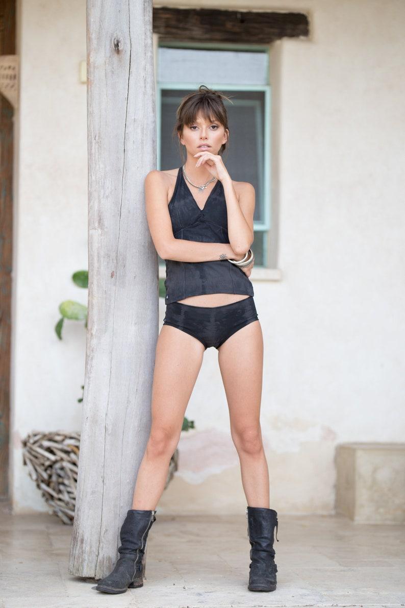 65fda5f9609d3 Yoga Outfits Gray Tie Dye Tankini Swimsuit Festival Wear   Etsy