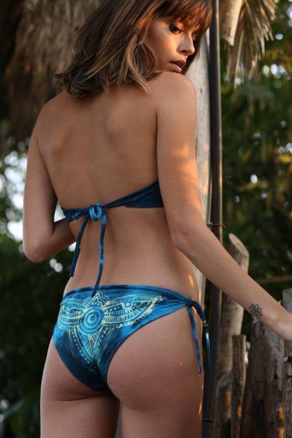 Triangle Tribal Bathing Sexy Seamless Swim Bikini Batik Feminine Printed Bikini Swimsuit Bikini Blue Top Collectors Wear Suit 55rRfq