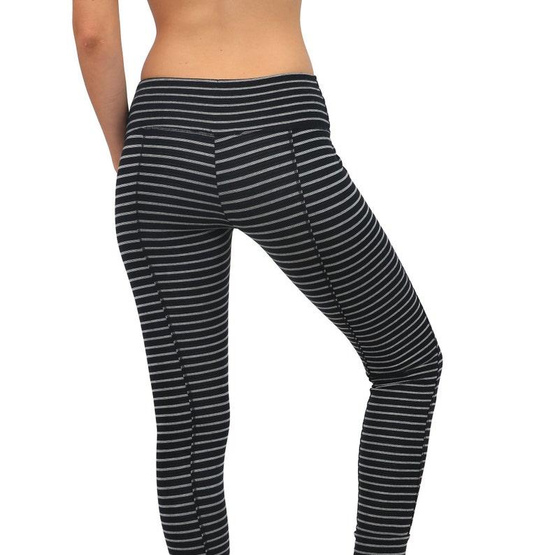 9d02b5fd459be Black and Grey Striped Leggings Yoga Pants For Women | Etsy