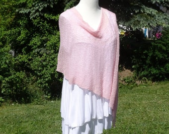 Poncho PASTEL PINK knitted cloak cape women Cape shoulder coverage