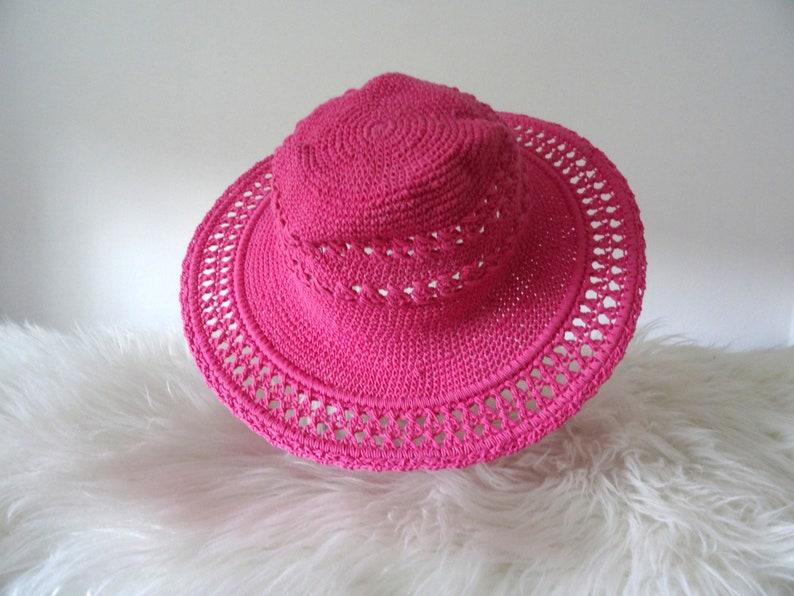 Crochet hat light pink sun hat with wide brim boho hippie accessory beach hat travel cotton hat crochet chic summer hat