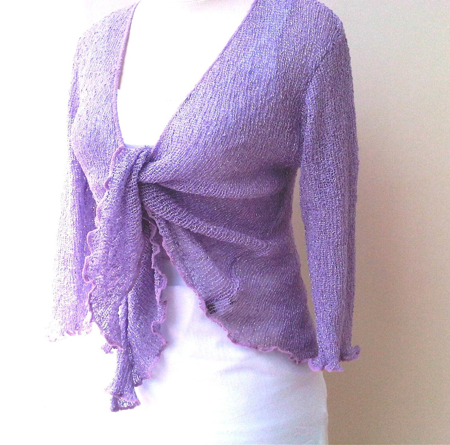 f6d4fe288a055 Knitted bolero jacket purple two-tone Shrug Women Stretch | Etsy