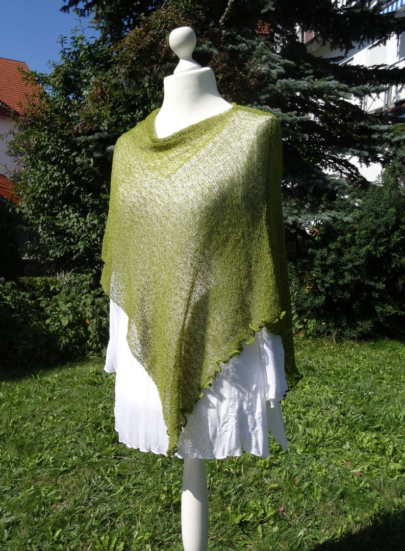 Fine Knit Poncho kiwi green Knit cover Accessory Cape Shoulder Covering Lightweight Stretch Throw One Size Stole Accessory Handmade