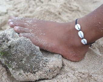 Anklet KAURI shells Boho Hippie Beach Chain unisex jewelry anklet handmade adjustable chain sliding knot festival chain handmade