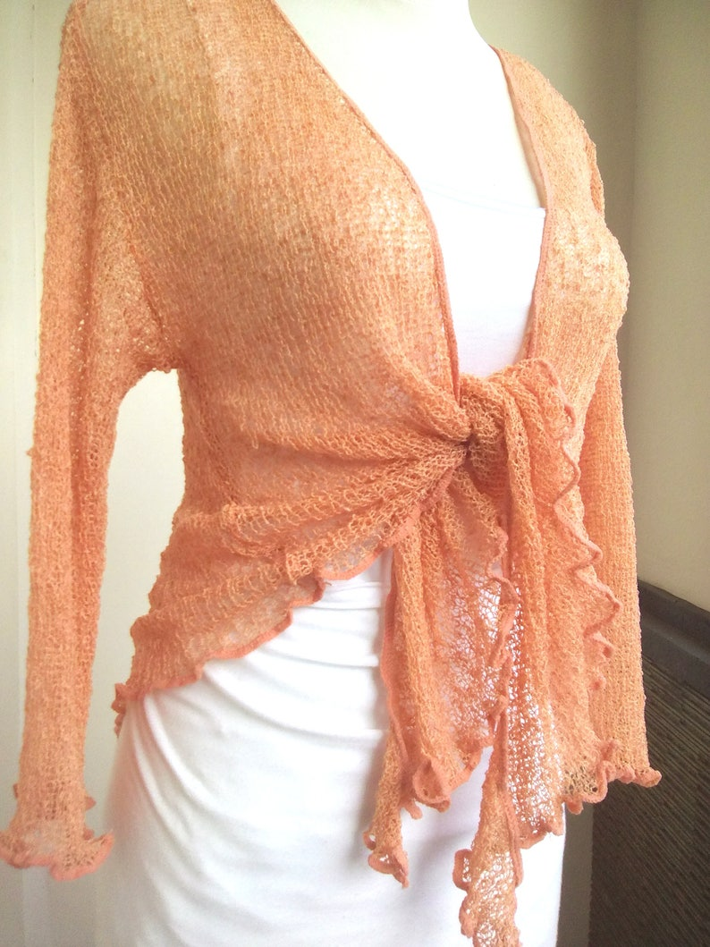 b0fffc89c80950 Bolero Cardigan APRICOT Ladies Stretch Cardigan Short Cardigan   Etsy