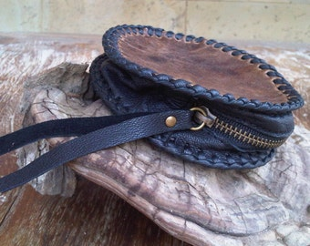 Handsewn Portemonnai Leather Purse Brown Black Leather Coin Purse TWO-TONES Purse Christmas Gift