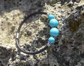 Bangle Turquoise summer Boho stone Bracelet round balls Blue Stone Bracelet Arm Chain Magnetic Clasp Ladies Bangle Silver Jewelry Elements