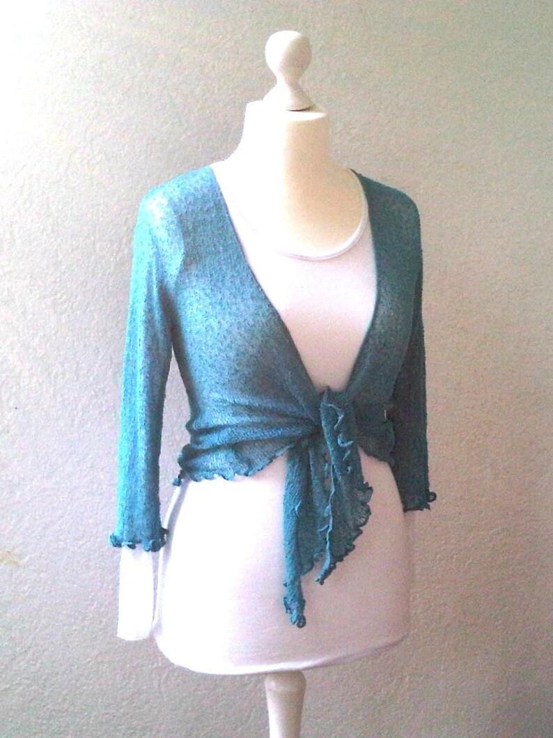 5a705c0d55345 Knit Cardigan Shrug TOPAS BLUE Stretch Ladies Cardigan Short | Etsy