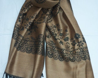 Woven scarf XL-scarf fringed shawl large brown black floral pattern pashmina scarf unisex style soft touch wide shawl stole