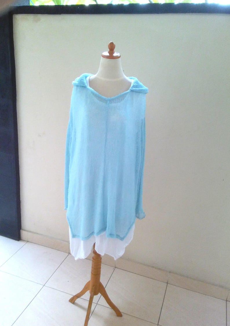 Knit Hoodie blue LAYER-LOOK oversize Ladies Stretch HOODY sky blue Plus Size Light blue cover up Poncho fine knit jumper hooded sweatshirt