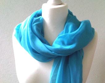 Chiffon scarf XL turquoise blue fine headscarf fifties style oversize scarf large shoulder scarf chiffon scarf gray accessory scarf