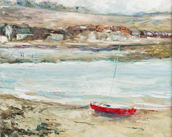 Irish Art The Red Boat, Skerries Harbour, Giclee Print - Limited Edition