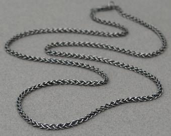 Silver men's chain - Oxidised silver chain - Men's jewellery - Men's necklace - Spiga chain - 2.5mm chain - Solid silver chain
