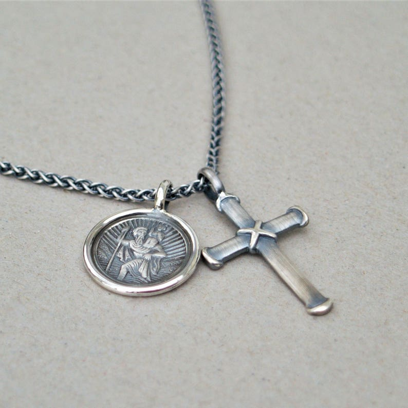Silver saint christopher and cross pendants Oxidised silver spiga chain cross Men/'s jewellery St christopher Unique jewellery