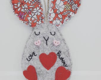 "Pretty Felt ""Love"" bunny with big Liberty print ears."