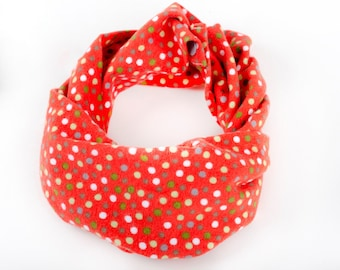 Bright red flannel toddler scarf, Christmas scarf for small child with dots