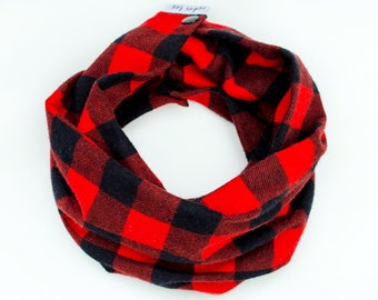Flannel infinity scarf for Baby, Buffalo plaid baby scarf with snaps, Red checkered, Toddler scarf, Warm baby scarf, Lumberjack baby scarf