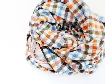 Earth toned plaid scarf with zipper pocket, Earthy orange flannel pocket scarf for winter