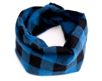 Flannel toddler scarf, Blue scarf for baby, Buffalo plaid lumberjack accessory for kids