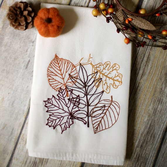 Autumn Leaves Embroidered Tea Towel 30x30 Embroidered Etsy