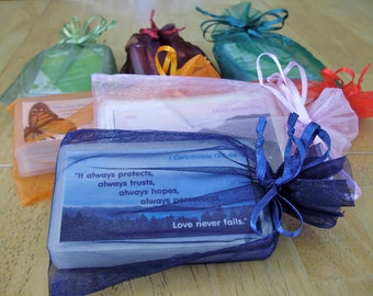 31 Laminated Bible verse cards in an organza draw-string pouch