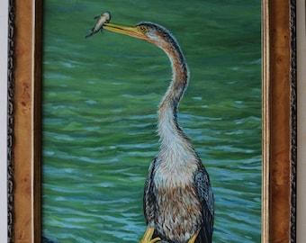 Anhinga's Dinner Oil Painting