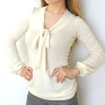 PDF Sewing Pattern Women's Knit / Jersey Top V neck - front bow (sizes XS-XXL) n.50