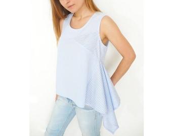 Digital / PDF Sewing Pattern Women's Sleeveless Cotton - Linen - Viscose Summer Shirt / Top (sizes 38-54) n.43