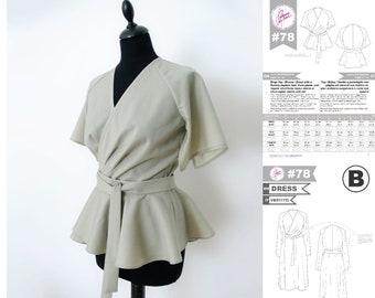 PDF Sewing Pattern N.78 - Wrap Blouse/Dress peplum hem, front pleats, raglan sleeve short/long or short with slit / Italian Sizes 38→54