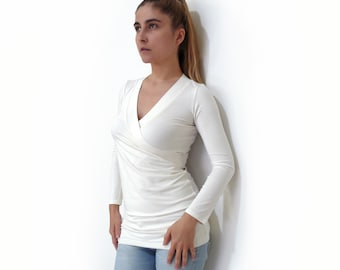 PDF Sewing Pattern N.23 fitted V neck Women's Jersey/Knit Top with Long sleeves xs-xxl