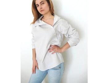 PDF Sewing Pattern Women's Cotton or Linen Shirt - Asymmetric button closure Sizes 38-40-42-44-46-48-50-52 n.32