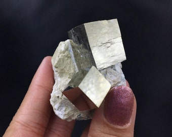 Flashy Metallic Gold Modified Cubic Pyrite Crystal Cluster with Peach Dolomite and Quartz Butte Montana