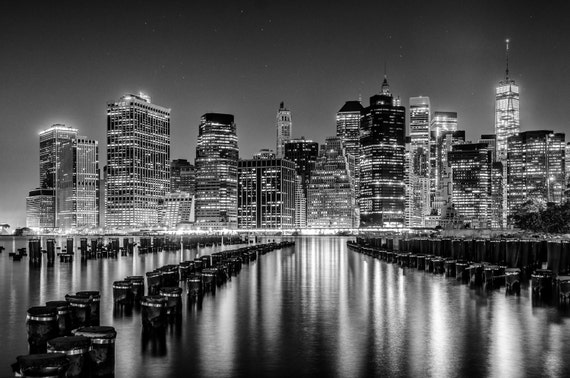 New York Skyline Black And White Photography Wall Art Poster Manhattan Art City Scape Home Decor Night Photography New York Print