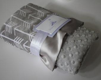 Baby Tee Pee Nursery Navy and White Arrow Minky with Plush Silver Gray Lattice and Orange Satin Trim Crib Bedding Aztec