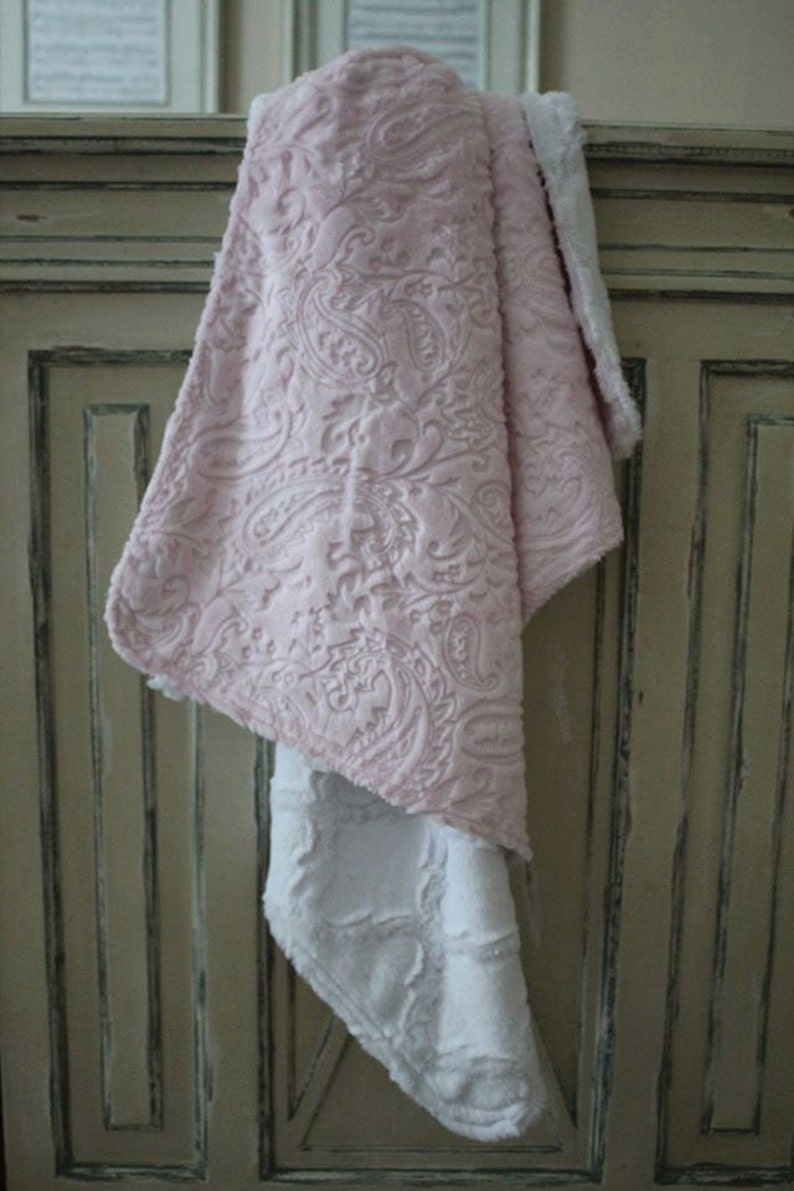 "NEW minky Nursery Baby receiving Blanket Satin Ruffle boy girl paysley 30/"""