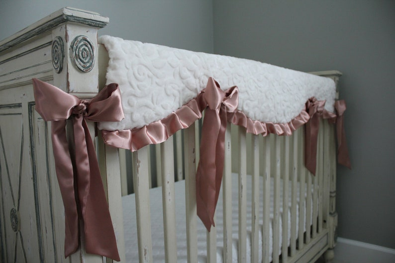 Nursery Crib Bedding Rosegold Glitzy Gold Floral Minky with Ivory Embossed Vine Minky Back and Finished with Soft Rose Gold Satin