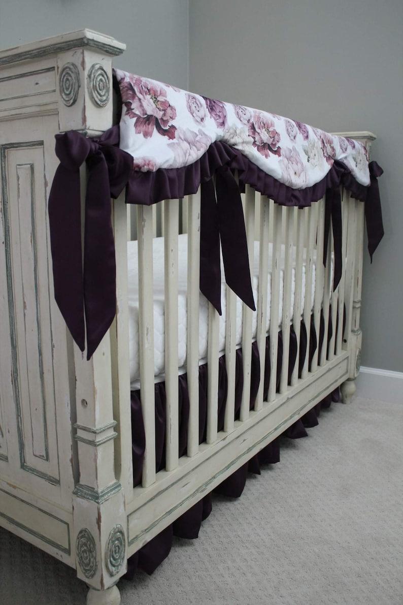 Reversible Rail Guard Cover Peony Floral Minky with Plum lattice Minky Plum Satin Crib Bedding