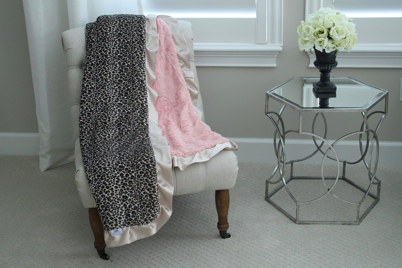 ADULT MINKY BLANKET Corporate Gift Travel Toffee Cheetah Minky with Blossom Hide Minky Back and Champagne Satin Trim